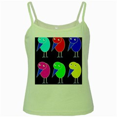Colorful Birds Green Spaghetti Tank by Valentinaart