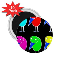 Colorful Birds 2 25  Magnets (10 Pack)  by Valentinaart