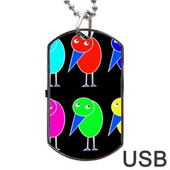 Colorful Birds Dog Tag Usb Flash (one Side) by Valentinaart