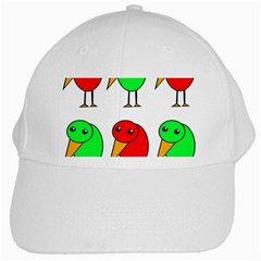 Green And Red Birds White Cap by Valentinaart