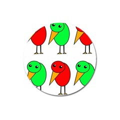 Green And Red Birds Magnet 3  (round) by Valentinaart