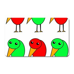 Green And Red Birds Magnet (rectangular) by Valentinaart