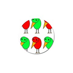 Green And Red Birds Golf Ball Marker (4 Pack) by Valentinaart