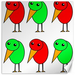 Green And Red Birds Canvas 12  X 12   by Valentinaart