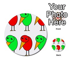 Green And Red Birds Multi Purpose Cards (round)  by Valentinaart