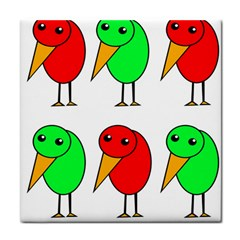 Green And Red Birds Face Towel by Valentinaart