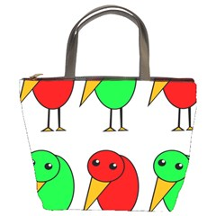 Green And Red Birds Bucket Bags by Valentinaart