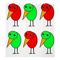 Green And Red Birds Shower Curtain 66  X 72  (large)  by Valentinaart
