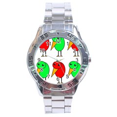 Green And Red Birds Stainless Steel Analogue Watch by Valentinaart
