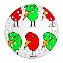 Green And Red Birds Round Filigree Ornament (2side) by Valentinaart