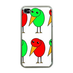 Green And Red Birds Apple Iphone 4 Case (clear) by Valentinaart