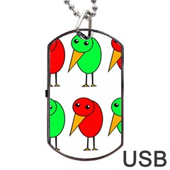 Green And Red Birds Dog Tag Usb Flash (one Side) by Valentinaart