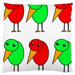 Green and red birds Large Cushion Case (Two Sides) Front
