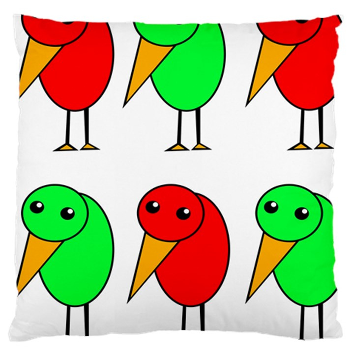 Green and red birds Large Cushion Case (Two Sides)