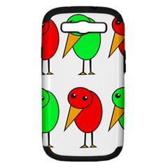 Green And Red Birds Samsung Galaxy S Iii Hardshell Case (pc+silicone) by Valentinaart