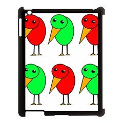 Green And Red Birds Apple Ipad 3/4 Case (black) by Valentinaart