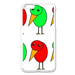 Green And Red Birds Apple Iphone 6 Plus/6s Plus Enamel White Case by Valentinaart