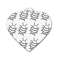 White Bug Pattern Dog Tag Heart (two Sides) by Valentinaart