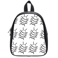 White Bug Pattern School Bags (small)  by Valentinaart