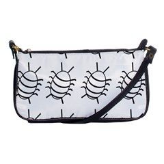White Bug Pattern Shoulder Clutch Bags by Valentinaart