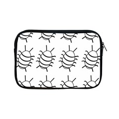 White Bug Pattern Apple Ipad Mini Zipper Cases by Valentinaart