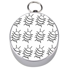 White Bug Pattern Silver Compasses by Valentinaart