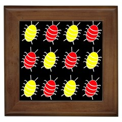 Red And Yellow Bugs Pattern Framed Tiles by Valentinaart