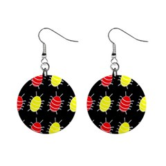 Red And Yellow Bugs Pattern Mini Button Earrings by Valentinaart