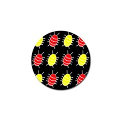 Red And Yellow Bugs Pattern Golf Ball Marker (4 Pack) by Valentinaart