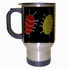 Red And Yellow Bugs Pattern Travel Mug (silver Gray) by Valentinaart