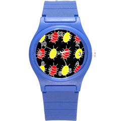 Red And Yellow Bugs Pattern Round Plastic Sport Watch (s) by Valentinaart