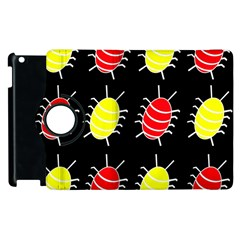 Red And Yellow Bugs Pattern Apple Ipad 2 Flip 360 Case by Valentinaart