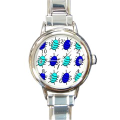 Blue Bugs Round Italian Charm Watch by Valentinaart