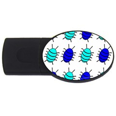Blue Bugs Usb Flash Drive Oval (4 Gb)  by Valentinaart