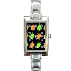 Green And Orange Bug Pattern Rectangle Italian Charm Watch by Valentinaart