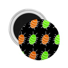 Green And Orange Bug Pattern 2 25  Magnets by Valentinaart