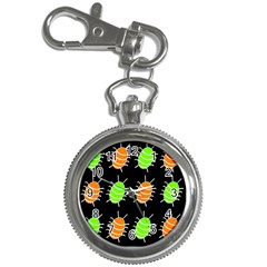 Green And Orange Bug Pattern Key Chain Watches by Valentinaart
