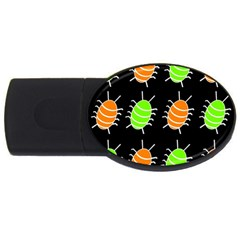 Green And Orange Bug Pattern Usb Flash Drive Oval (4 Gb)  by Valentinaart