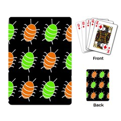 Green And Orange Bug Pattern Playing Card by Valentinaart