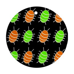 Green And Orange Bug Pattern Round Ornament (two Sides)  by Valentinaart