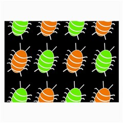 Green And Orange Bug Pattern Large Glasses Cloth (2 Side) by Valentinaart