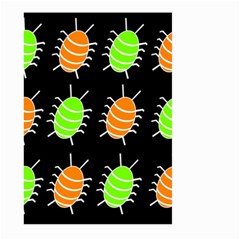 Green And Orange Bug Pattern Large Garden Flag (two Sides) by Valentinaart