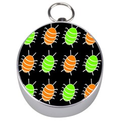 Green And Orange Bug Pattern Silver Compasses by Valentinaart
