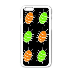 Green And Orange Bug Pattern Apple Iphone 6/6s White Enamel Case by Valentinaart