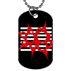 Red, Black And White Abstract Design Dog Tag (two Sides) by Valentinaart