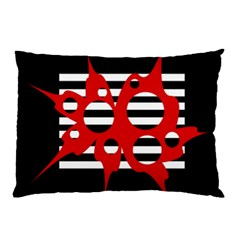 Red, Black And White Abstract Design Pillow Case by Valentinaart