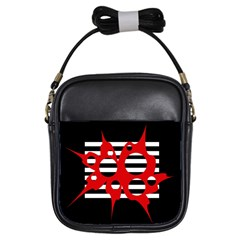 Red, Black And White Abstract Design Girls Sling Bags by Valentinaart