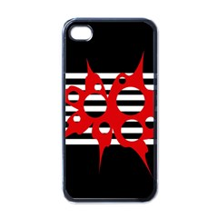 Red, Black And White Abstract Design Apple Iphone 4 Case (black) by Valentinaart