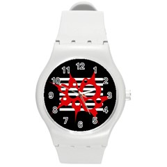 Red, Black And White Abstract Design Round Plastic Sport Watch (m) by Valentinaart