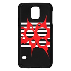 Red, Black And White Abstract Design Samsung Galaxy S5 Case (black) by Valentinaart